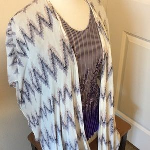 Tops - Summer cardigan white and purple gently used